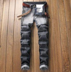 Moda Mens compactados com painéis Slim Fit Jeans Designer plissadas Motocycle motociclista perna reta Denim calças tamanho grande Calças JB7 JB7-1