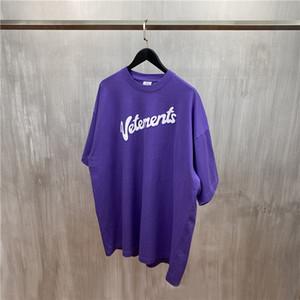 2020 T-shirt Lettre pourpre blanc T-shirt imprimé d'été Hommes Femmes Oversize T-shirts Hip Hop Tops coton