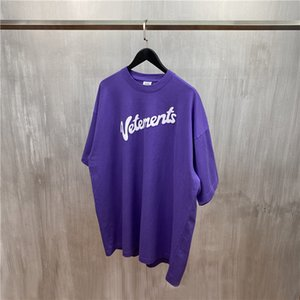 2020 T-Shirt, Lila, Weiß Letter Print T-Sommer-Männer Frauen Übergrößen T-Shirts Hip Hop Baumwolle Tops