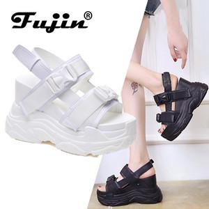 Fujin Sandali con tacco femminile è aumentato scarpe grosse inferiore estate 2019 nuove donne cuneo con i pattini della piattaforma punta aperta CJ191116
