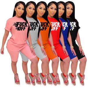 Summer Tracksuit Sets for Women Letter Printed Short Sleeves 2 Piece Jogging Suits T-shirts Pants Solid Color
