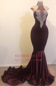 Элегантные платья выпускного вечера с высоким вырезом сливы русалка 2019 без рукавов бисером кристалл бархатные платья выпускного вечера Вечерние платья BC1144