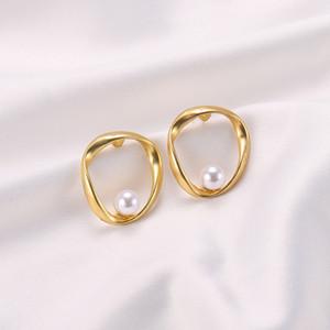 S925 silver pin matte pearl earrings earrings simple temperament ins irregular earrings
