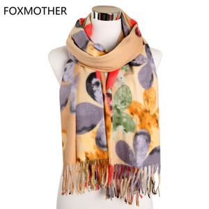 FOXMOTHER Foulards Accesorios Mujer Silencieux Femme Rose Jaune Fleur Floral Cachemire chaud Châle Wraps Ladies 2019