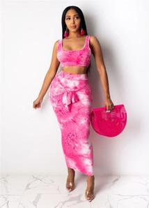 Tie verano tinte Fajas ajustado de dos piezas sin mangas Breve vestido de las mujeres Desinger Casual U-Cuello de dos piezas Conjunto femeninas atractivas ropa