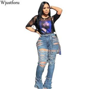 Wjustforu atractivas ahuecan hacia fuera rasgada para las mujeres de la personalidad de cintura alta Holw Vaqueros Femme ajustado de los pantalones del lápiz del club Vestido