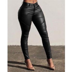 Moda de Nova Sexy Mulheres Slim calças de couro das senhoras magros Stretchy Lápis Calças de cintura alta Pant Long Red Preto Roupa Nova