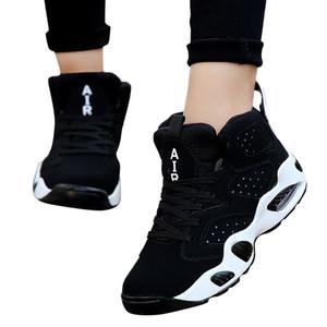 Pareja de mujeres sagace zapatillas de deporte Ropa de baloncesto atan para arriba los zapatos ocasionales de la plataforma cómoda de la universidad de verano Deportes X1226