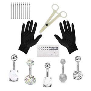 24pcs / Set Piercing Mücevher Setleri Setler Dil Halka Burun Kaş Dudaklar Septum Forseps Piercing İğneler Vücut Takı