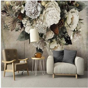 Modern 3d stereoscopic wallpaper retro nostalgic hand-painted floral TV background wall