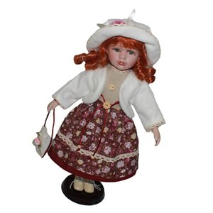 16inch adorable victorienne Porcelain Doll fille Figures Collections Avec Présentoirs en bois pour adultes Collections Ornement Accueil