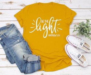 Seja A Luz Matthew Christian Moda Slogan Aesthetic Street Style mensagem positiva Fé Jesus Camiseta Vintage T amarelo Top