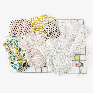 Летние одежды младенца дети с коротким рукавом банановый цветок Горошек печати Romper 100% хлопок ребенка ползунки Baby Дети Одежда