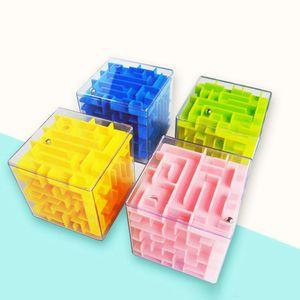 5,5 cm 3D Cube Puzzle Maze Juguete Mano Juego Caja Caja Diversión Brain Game Challenge Fidget Toys Balance Juguetes educativos para niños DC973