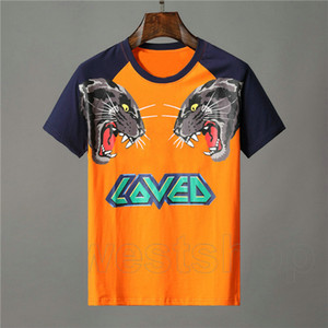 Designer-Kleidung für Herren orange T-Shirt Brief Tier Tiger Wolf Print T-Shirt geliebt Patchworkfarbe T-Stück beiläufigen Frauen-T-Shirts T-Shirt Top