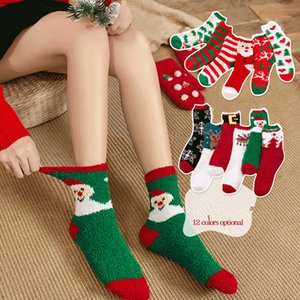 Christmas Socks Thick Towel Coral Velvet Sock Women Girl Warm Half Velvet Adult Christmas Stockings Floor Sleep Socks GGA2796