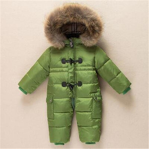 Зима Новорожденная детская одежда Sounoine Down Куртка Baby Boys Girls Утолщение комбинезон с реальным мехом Детский снежный костюм 0-3 года