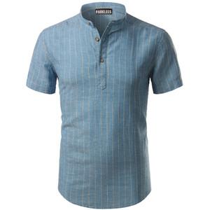 2019 Schinteon Erkekler Rahat Pamuk Keten Gömlek Yaz Düz Renk Ince Kısa Kollu Chemise Erkek Gömlekler Standı