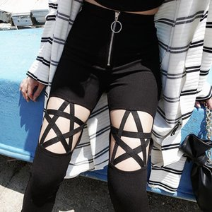 2019 Punk Style Hollow Out Star Women Black Leggings Push Up Front Zip High Waist Leggings Casual Skinny Pants Slim Trousers