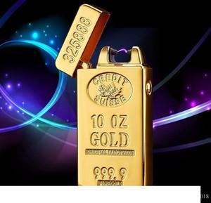 Klasik Altın elektrik Darbe Ark çakmak USB şarj çakmak Erkekler USB Çakmak iş Hediyeler Barlar Çakmaklar B246