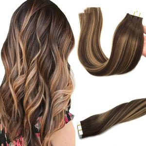 Gerçek Saç BALAYAGE içinde Karamel Sarışın Doğal Saç Uzantıları Tape Ombre Çikolata Brown 20pcs 50g İnsan Saç Uzantıları Bant Düz