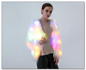 Mujer del partido del vestido de Halloween LED de mujeres de la piel de la chaqueta de Europa Cabo cosplay de Navidad de lujo