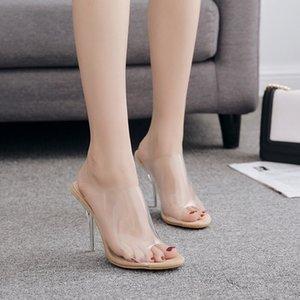 여자의 크리스탈 Chunky High Heels 샌들 선형 모양 투명한 상단 Peep Toe 방한용 여름 더운 여름을위한 플라스틱 표면