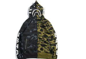 2020 Mens Акула печати с капюшоном толстовка подростковых животными Камуфляж Кардиган толстовка куртка Синий Зеленый Розовый скейтборд Hoodie 3 цвета