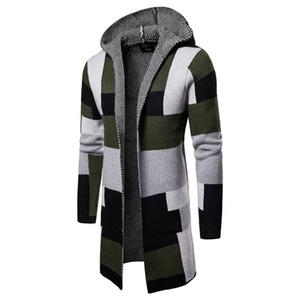 Moda- Designer Camisolas Long Sleeve Cardigan com capuz Mens Camisolas Moda Cor Contraste Vestuário Masculino