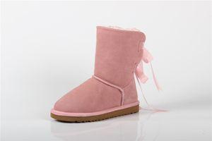 Entrega gratuita botas de neve do inverno botas de couro de alta qualidade australiano arco decoração menina meia botas tamanho 35-44