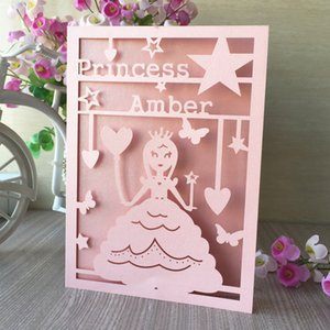 princess pink beautiful princess hollow laser cut pearl paper Envelope birthday party card adult ceremony wedding invitation business dinner