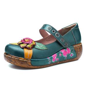 Vintage Stil Kadın Düz Ayakkabı Kadın İlkbahar Yaz Socofy Hakiki Deri Platformu Rahat Ayakkabılar El Yapımı Çiçek Yeni