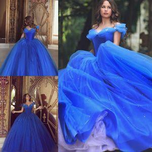 Blaue Ballkleider 2019 Kleid Party Cocktailkleider Kleid für besondere Anlässe Dubai Naher Osten Tüll Perlen Cinderella Quinceanera Kleider