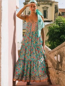 Длина платья повелительниц Женщины V шеи Одежда женщин Кнопка Contrast Цвет платья лето Цветочные печати рукавов лодыжки