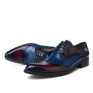 Moda Apontado Brogues Prom Shoes Mens Dress Shoes couro genuíno Oxfords Negócios Sapatos Masculinos Formal Footwear festa de casamento