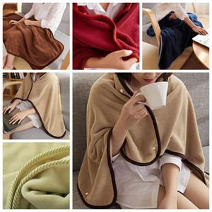 5 ألوان لينة دافئ الفانيلا بطانية عباءة مع شتاء دافئ الصلبة أزرار اللون لبس بطانية لبس كسول عباءة DH0677