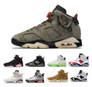 2020 Men Sports Sneaker TOP QUALITY Travis Scotts X 6 Retro Medium Olive Men Basketball Shoes Tinker Infrared Cactus Oregon 7-13