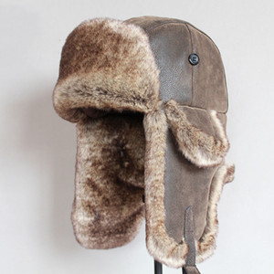 Bomber Hats Winter Men Warm Russian Ushanka Cappello con paraorecchie Pu Leather Fur Trapper Cap Earflap D19011503