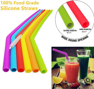 News Reusable Silicone Straws Food Grade 30oz 20oz Tumbler Silicone Straws Drinking With Cleaning Brush Party Straws Drinking Tools