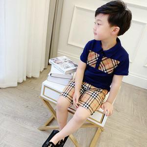 Moda Çocuk Giyim Kız Ceket Çocuk Giyim Seti Bebek Pamuk Pantolon Şort Kısa Kollu Suits Yaz Bebek Boys Ekose tişörtleri ayarlar