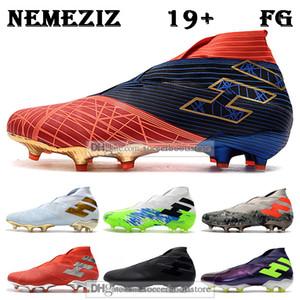 GIFT BAG para hombre de alta del tobillo botas de fútbol código de encriptación Nemeziz 19+ suelo firme Tacos de MARVEL Spider-man Nemeziz Messi 19 zapatos de fútbol FG