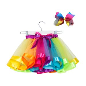 Rainbow Tutuskirt for Baby Girl Colorful Fluffy Skirt with free Hair Clip Cute Dress Baby Clothes 2-11 Years CW002