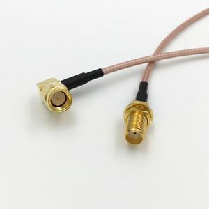 زاوية الحق SMA ذكر التوصيل إلى SMA أنثى جاك RF محوري الحاجز تجعيد موصل RG316 كابل البلوز جديلة