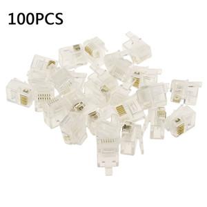 Cabos omputer Escritório Computador Connectors 100pcs 6P6C 4P4C RJ12 RJ11 Cabeça de cristal Modular plug banhado a ouro conector de rede ...