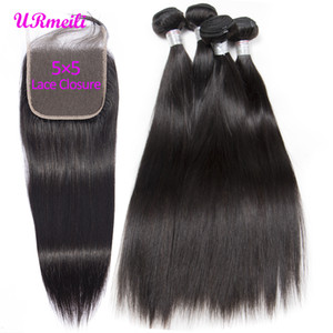Straight Hair Bundles With 5x5 Lace Closure Brazilian Virgin Hair Weave 3 4 Bundles With Closure Natural Black Remy Hair Extension