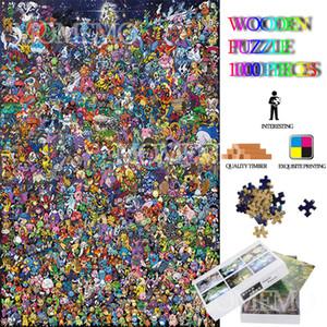 포켓 몬스터 컬렉션 퍼즐 1000 조각 만화 애니메이션 나무 직소 퍼즐 장난감 성인을위한 DIY 조립 나무 퍼즐 Y200421
