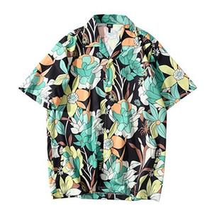 2020 Hip Hop Gömlek Streetwear Erkekler Hawaii Gömlek Harajuku Çiçek Plaj Gömlek Yaz Kısa Kollu HipHop Tops