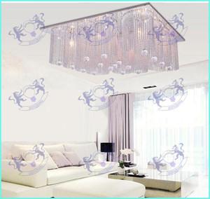 مستطيل الطراز الأوروبي الحديث Led segated dimmable chandeliers ceiling light, K9 crystal beads + glittering aluminium bars