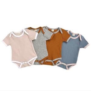 Детская одежда Детские Твердая Rompers малышей Лето Статья Pit Мальчики комбинезон Gilrs короткими рукавами комбинезон для новорожденных Детские Дизайнерская одежда CYP462