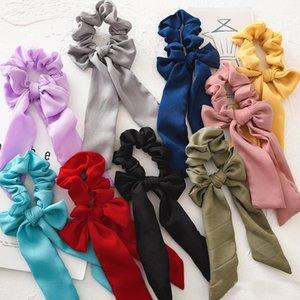 INS Summer Chiffon Hair Scrunchies Bow Accesorios para mujeres Bandas para el cabello Corbatas Scrunchie Ponytail Holder Cuerda de goma Decoración Big Long Bow